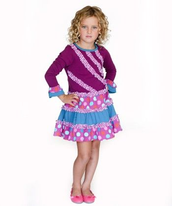 Party Dot Collection Party Dot Diagonal Ruffle Dress - Jelly The Pug