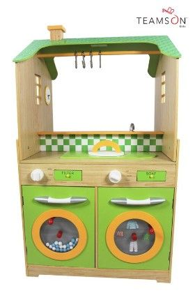 Green Play Kitchen With Dual Washers Set - Teamson Kids