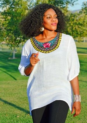 Loose Fit Embroidery Tops-white - Xcel Couture