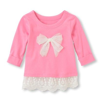 Long Sleeve Lace Trim Top - Pink - The Children's Place