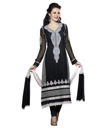 Touch Trends Black Pure Georgette Dress Material - Touch Trends Ethnic
