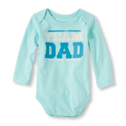 Long Sleeve 'team Dad' Little Talker Bodysuit - Mint - The Children's Place