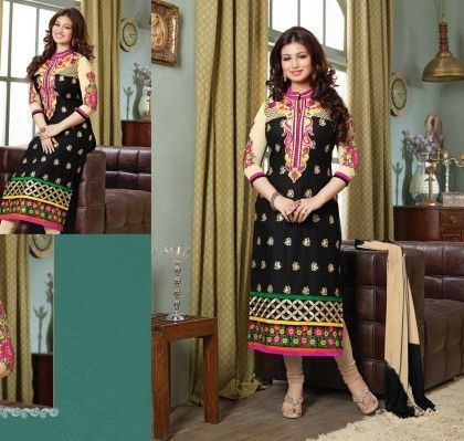 Black All Over Printed-semi Stitched Suit - Fashion Fiesta