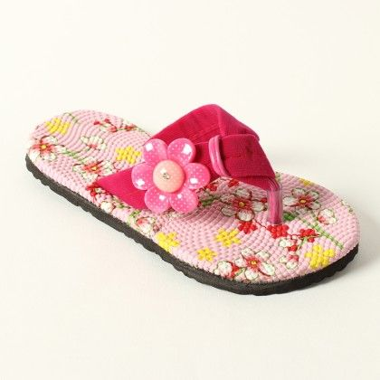 Printed Sole With 1 Flower On Side Slip Ons - Pink - Lek Cotton