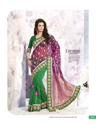 Touch Trends Green Designer Net Jaqurd  Saree - Touch Trends Ethnic