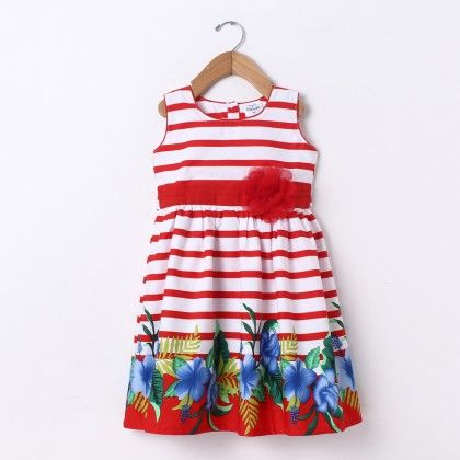 Dress Sleeve Less Stripe Border Print - Red - Doodle