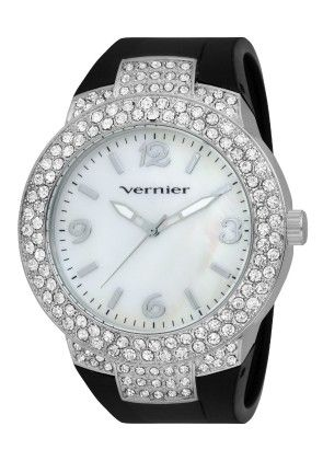 Vernier Women's Silicone Band Oversized Crystal Silver Bezel Watch - Vernier Watches
