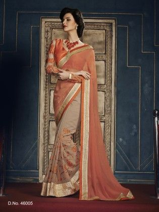 Touch Trends Peach Georgette Saree - Touch Trends Ethnic
