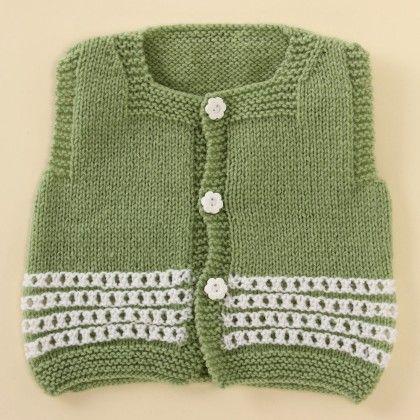 Green And White Vest - Knitting Nani