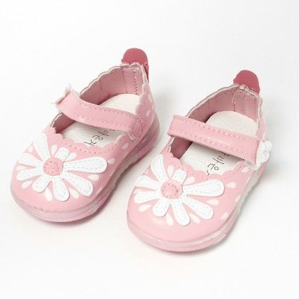 Light Up Shoes,welcro Strap Flower Light Pink - S&S
