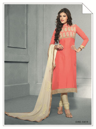 Touch Trends Peach Chanderi  Silk Dress Material - Touch Trends Ethnic
