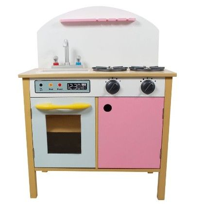 Wooden Play Kitchen With Dual Doors - Pink - Teamson Kids