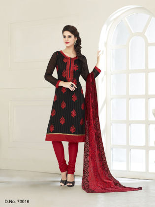 Touch  Trends Black Chanderi Silk Dress  Material - Touch Trends Ethnic