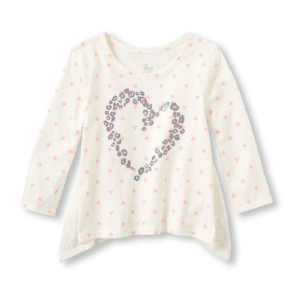 Long Sleeve Leopard Heart Shark-bite Hem Shirt - Cloud - The Children's Place
