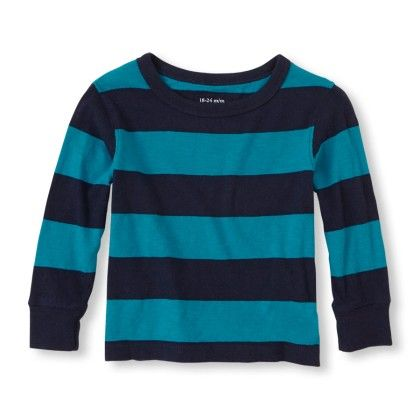 Long Sleeve Striped Crew Tee - Lagoon - The Children's Place