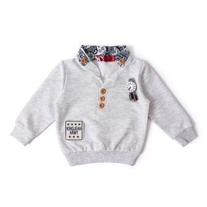 Polo Neck Full Sleeves T-shirt - Grey - NODDY