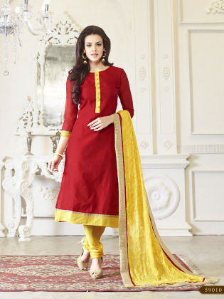 Touch Trends Red  Chanderi Silk Dress Material - Touch Trends Ethnic
