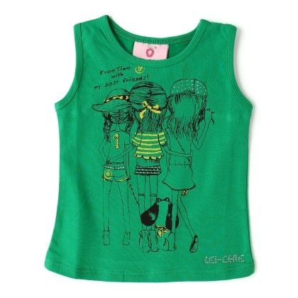 Casual Top Sleevless With Screen Print - Green - Lei-Chie