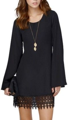 Casual Lace Long Sleeve Chiffon Shift Perty Dress Black - Lingswallow