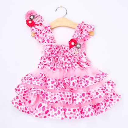 Cute Pink Ruffled Dress With Headband - Little Dress Up