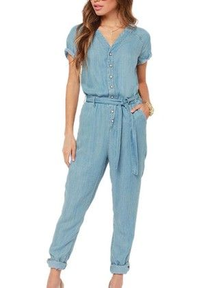 Long Sleeve V Neck Romper Jumpsuit Multi-color Pick-blue - Aweids