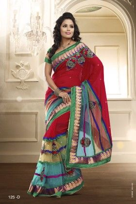 Touch Trends  Multi Chiffon Saree - Touch Trends Ethnic
