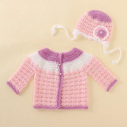 Lavender And Pink Sweater Set - Knitting Nani