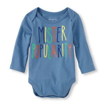 Long Sleeve 'mister Popular' Little Talker Bodysuit - Blue - The Children's Place