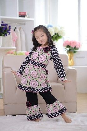 Tunic And Pant Set-  Black & Pink - Cutie Baby Boutique