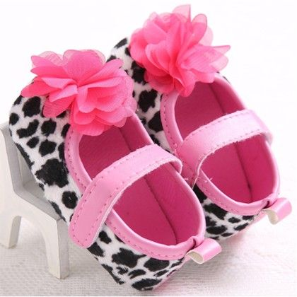 Black And White Leopard Print With Pink Flower Shoes - Peach Giirl