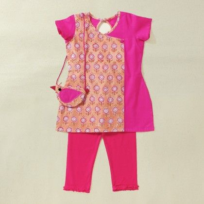 Kids Blockprint Angarkha Kurti With Leggings And  Coin Pouch - Soul Design Inc