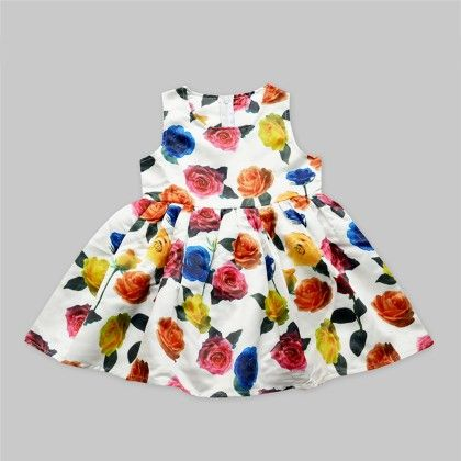 White Floral Print Dress With Multi-colour Flowers - Freda & Pixie