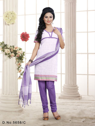 Touch Trends Violet Pure Cotton Dress Material - Touch Trends Ethnic