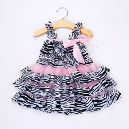 Pink Zebra Print Ruffled Dress - Little Dress Up