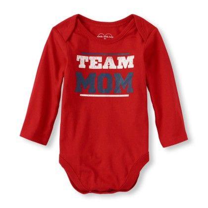 Long Sleeve 'team Mom' Little Talker Bodysuit - Red - The Children's Place