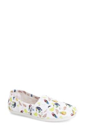 Classic White Canvas Printed Parrots Slip On - Toms