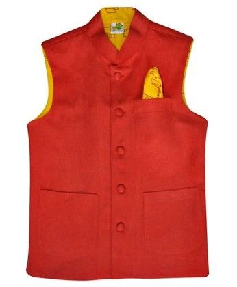 Red Suede Jacket With Mustard Yellow Printed Lining And Printed Pocket Square - Little Stars