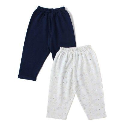 Solid Dark Blue & Clouds Printed Boy Pants - Pack Of 2 - BEN BENNY