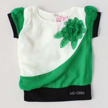 Casual Top With Flower Broach Design Green - Lei-Chie