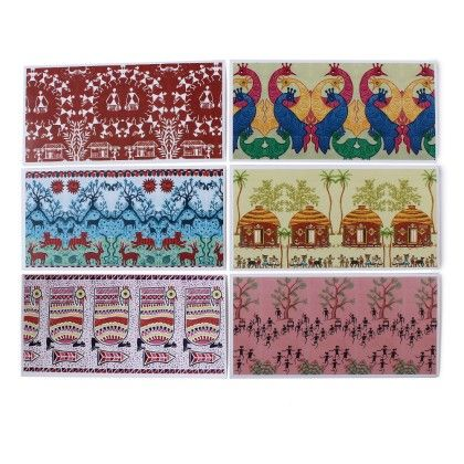 Set Of 6 Gift Envelopes - Tribal Art Of India - Aathila