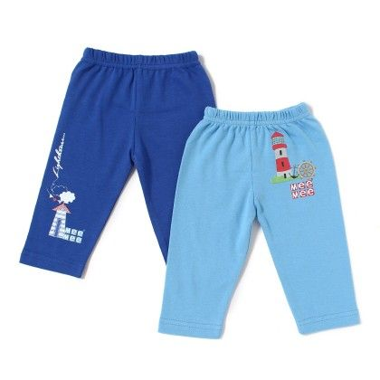 Baby Leggings Pack Of 2 - Blue And Lt  Blue - Mee Mee
