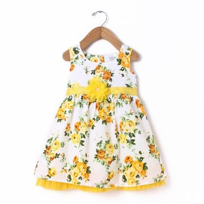 Dress Sleeve Less White All Over Rose Print With Flower & Net - Yellow - Doodle