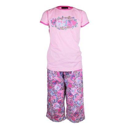 Girls Love Paris Print Top And Pant Set - Candy Pink