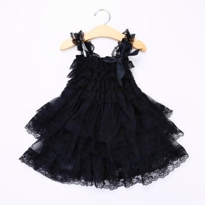 Black Ruffled Sling Dress - Little Dress Up
