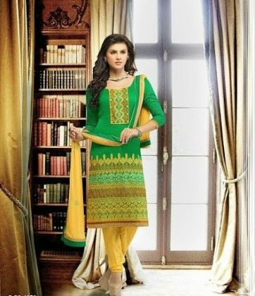 Traditional Green And Yellow-embroidered Semi Stitched Suit - Fashion Fiesta