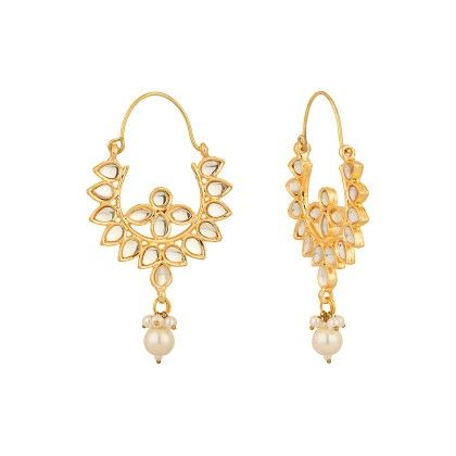 Voylla Fascinating Pair Of Earrings Adorned With Cz; Pearls And Enamel Work