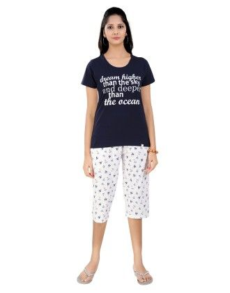 Navy Blue Top With Boat Printed Three-fourth Pyjama Set - Sheer Love
