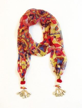 Chiffon Folk Art Print Shells And Parrot Jewelled Scarf - Lime