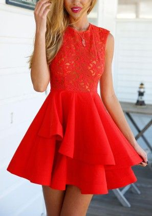 With Zipper Lace Insert Flare Red Underskirt Drop Waist Dress - She In