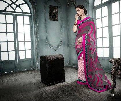 Pink Gray All Over Printed Saree - Fashion Fiesta